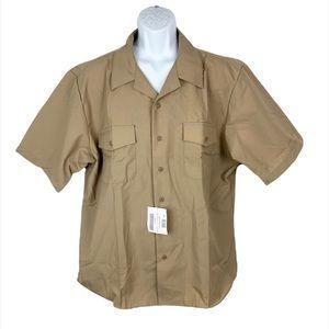 DSCP Khaki Athletic Navy Short Sleeve Military Button Down Shirt Cut 2XL